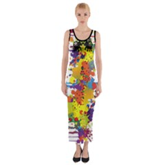 Crazy Multicolored Double Running Splashes Fitted Maxi Dress by EDDArt