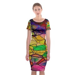 Abstract Squares Triangle Polygon Classic Short Sleeve Midi Dress by AnjaniArt