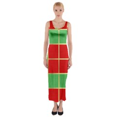 Christmas Fabric Textile Red Green Fitted Maxi Dress by AnjaniArt