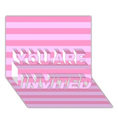 Fabric Baby Pink Shades Pale You Are Invited 3d Greeting Card (7x5) by AnjaniArt