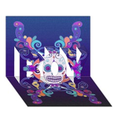 Día De Los Muertos Skull Ornaments Multicolored Boy 3d Greeting Card (7x5) by EDDArt