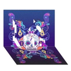 Día De Los Muertos Skull Ornaments Multicolored Love 3d Greeting Card (7x5) by EDDArt