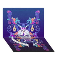 Día De Los Muertos Skull Ornaments Multicolored Heart Bottom 3d Greeting Card (7x5) by EDDArt