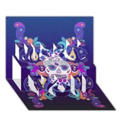 Día De Los Muertos Skull Ornaments Multicolored Miss You 3d Greeting Card (7x5) by EDDArt