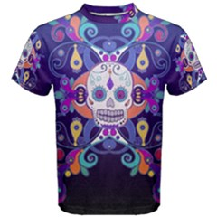 Día De Los Muertos Skull Ornaments Multicolored Men s Cotton Tee by EDDArt