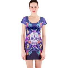 Día De Los Muertos Skull Ornaments Multicolored Short Sleeve Bodycon Dress by EDDArt