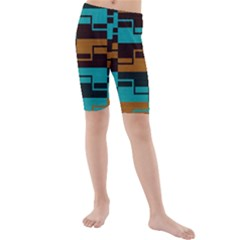Fabric Textile Texture Gold Aqua Kids  Mid Length Swim Shorts by AnjaniArt