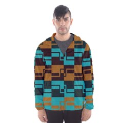 Fabric Textile Texture Gold Aqua Hooded Wind Breaker (men) by AnjaniArt