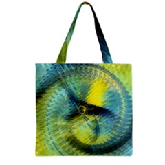 Light Blue Yellow Abstract Fractal Grocery Tote Bag by designworld65