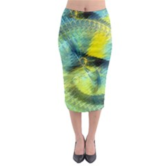 Light Blue Yellow Abstract Fractal Midi Pencil Skirt by designworld65