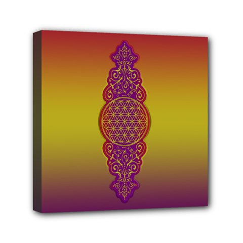 Flower Of Life Vintage Gold Ornaments Red Purple Olive Mini Canvas 6  X 6  by EDDArt