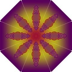 Flower Of Life Vintage Gold Ornaments Red Purple Olive Hook Handle Umbrellas (medium) by EDDArt
