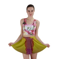 Flower Of Life Vintage Gold Ornaments Red Purple Olive Mini Skirt by EDDArt
