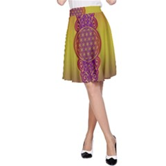 Flower Of Life Vintage Gold Ornaments Red Purple Olive A Line Skirt by EDDArt
