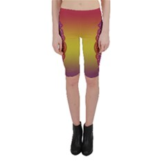 Flower Of Life Vintage Gold Ornaments Red Purple Olive Cropped Leggings  by EDDArt