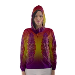 Flower Of Life Vintage Gold Ornaments Red Purple Olive Hooded Wind Breaker (women) by EDDArt