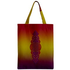 Flower Of Life Vintage Gold Ornaments Red Purple Olive Zipper Classic Tote Bag by EDDArt