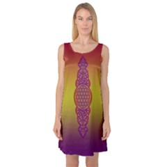 Flower Of Life Vintage Gold Ornaments Red Purple Olive Sleeveless Satin Nightdress by EDDArt