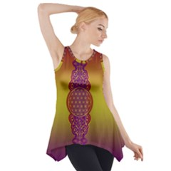 Flower Of Life Vintage Gold Ornaments Red Purple Olive Side Drop Tank Tunic by EDDArt