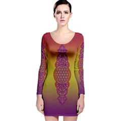 Flower Of Life Vintage Gold Ornaments Red Purple Olive Long Sleeve Velvet Bodycon Dress by EDDArt
