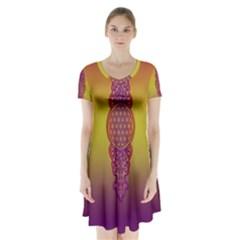 Flower Of Life Vintage Gold Ornaments Red Purple Olive Short Sleeve V Neck Flare Dress by EDDArt