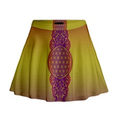 Flower Of Life Vintage Gold Ornaments Red Purple Olive Mini Flare Skirt by EDDArt