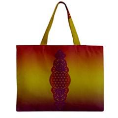 Flower Of Life Vintage Gold Ornaments Red Purple Olive Medium Tote Bag by EDDArt