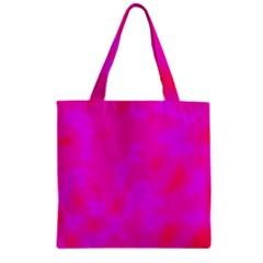 Simple Pink Zipper Grocery Tote Bag by Valentinaart