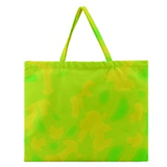 Simple Yellow And Green Zipper Large Tote Bag by Valentinaart