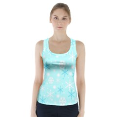 Blue Xmas pattern Racer Back Sports Top by Valentinaart