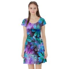 Blue On Purple Vintage Flowers Short Sleeve Skater Dress by KirstenStar