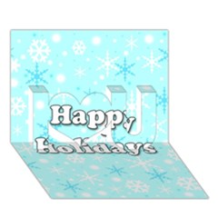 Happy Holidays Blue Pattern I Love You 3d Greeting Card (7x5) by Valentinaart