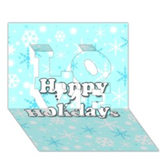 Happy holidays blue pattern LOVE 3D Greeting Card (7x5) by Valentinaart
