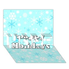 Happy holidays blue pattern HOPE 3D Greeting Card (7x5) by Valentinaart