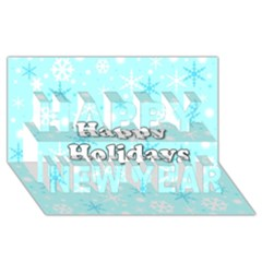 Happy holidays blue pattern Happy New Year 3D Greeting Card (8x4) by Valentinaart