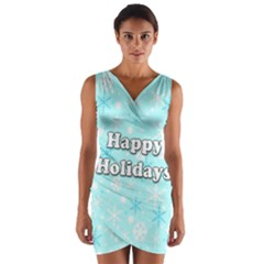 Happy holidays blue pattern Wrap Front Bodycon Dress by Valentinaart