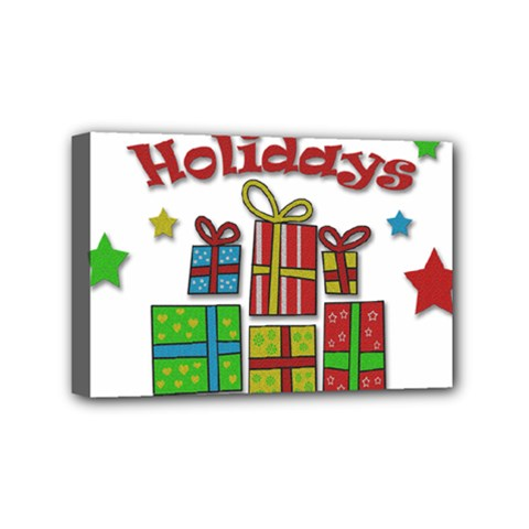 Happy Holidays   Gifts And Stars Mini Canvas 6  X 4  by Valentinaart