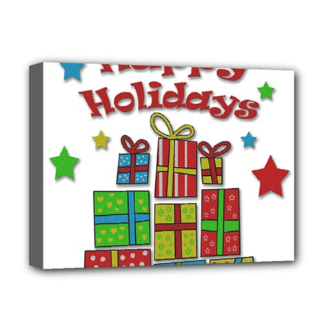 Happy Holidays   Gifts And Stars Deluxe Canvas 16  X 12   by Valentinaart