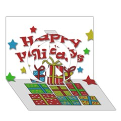 Happy Holidays   Gifts And Stars Peace Sign 3d Greeting Card (7x5) by Valentinaart