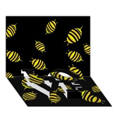 Decorative Bees Love Bottom 3d Greeting Card (7x5) by Valentinaart