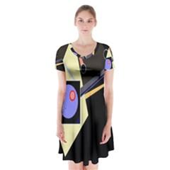 Construction Short Sleeve V-neck Flare Dress by Valentinaart