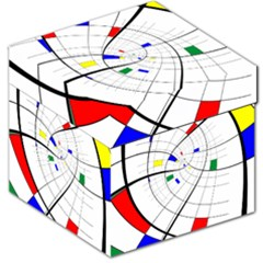Swirl Grid With Colors Red Blue Green Yellow Spiral Storage Stool 12   by designworld65