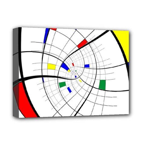 Swirl Grid With Colors Red Blue Green Yellow Spiral Deluxe Canvas 16  X 12   by designworld65