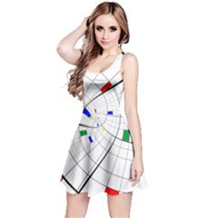 Swirl Grid With Colors Red Blue Green Yellow Spiral Reversible Sleeveless Dress by designworld65