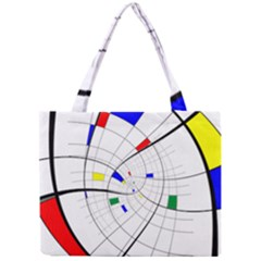 Swirl Grid With Colors Red Blue Green Yellow Spiral Mini Tote Bag by designworld65