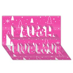 Magenta Xmas Laugh Live Love 3d Greeting Card (8x4) by Valentinaart