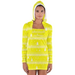 Yellow Xmas Women s Long Sleeve Hooded T-shirt by Valentinaart