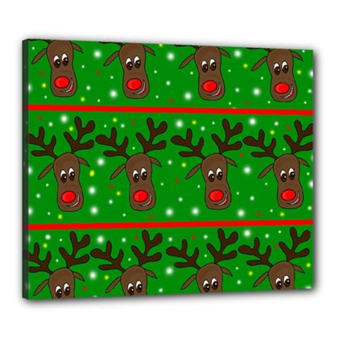 Reindeer Pattern Canvas 24  X 20  by Valentinaart