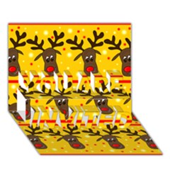 Christmas reindeer pattern YOU ARE INVITED 3D Greeting Card (7x5) by Valentinaart
