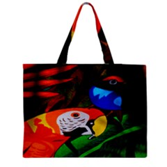 Papgei Red Bird Animal World Towel Medium Zipper Tote Bag by AnjaniArt